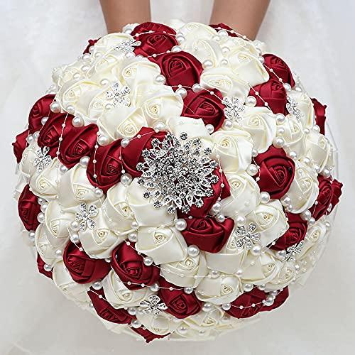 KUPARK Wedding Rose Diamond Bouquet Bride Bridesmaid Red White Artificial Romantic Holding Flower Decoration Silk Flower Arrangements