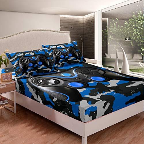Gamepad - Juego de sábanas de camuflaje azul para niños y niñas, juego de ropa de cama, juego de cama con mando de juego, 2 piezas, tamaño individual