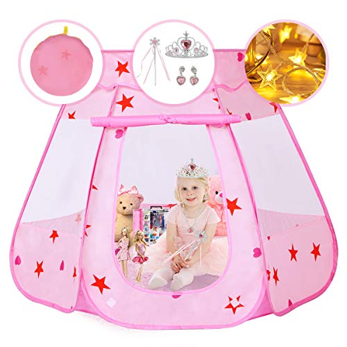 Pickwoo Pop Up Spielzelt Rosa Kinderzelt Princess Dream Castle Spielen mit LED Sternenlicht und Krone Kinder-Zelt Pop-up Zelt Kinderspielzelt Popup Play Tent Geschenk für Mädchen Indoor Outdoor