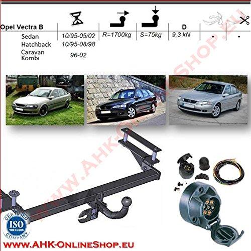 AHK Anhängerkupplung mit Elektrosatz 7 polig für Opel Vectra B 1995-1998 Schrägheck Kombi Stufenheck Anhängevorrichtung Hängevorrichtung - starr, mit angeschraubtem Kugelkopf