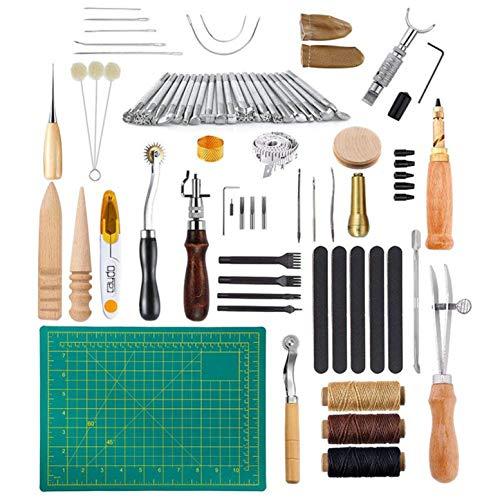 CHSEEO Artesanía del Cuero, 50 Piezas Juegos y Kits de Costura Kits de Repujado de Cuero Herramientas de Coser Perforadora de Cuero para Manualidades DIY Cuero Artesanía #1