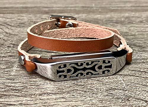 Silver Jewelry Light Brown Genuine Leather Bracelet For Fitbit Flex 2 Tracker Handmade Double Wrap Adjustable Strap Fitbit Flex 2 Band Unique Design Holder Fitbit Flex 2 Women Fashion Wristband