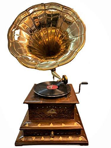 Antique Museum The Gramophone Co. HMV Vintage His Master Voice Wooden Art Desk Décor Turntable Antique Machine Musical Box Draw Phonograph A3BG 017