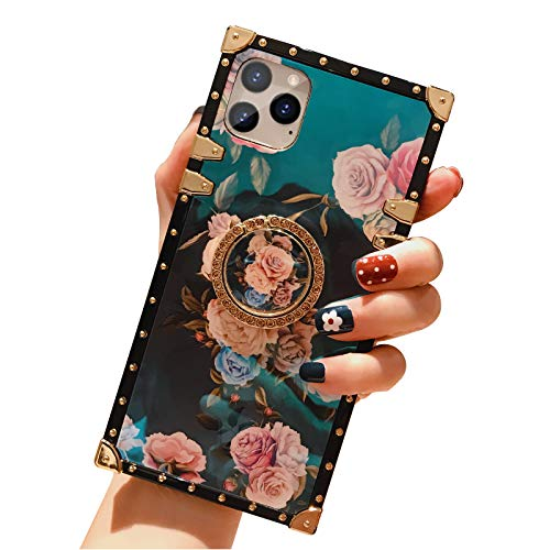 iPhone 11 Pro Max Square Case with Ring Stand Holder Floral Flower Luxury Elegant Soft TPU Shockproof Protective Metal Decoration Corner Phone Case Women Girls Lady for Apple iPhone 11 Pro Max