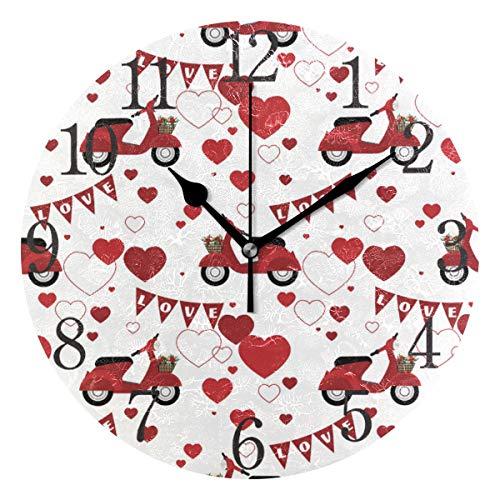 AABAO runde Wanduhr, Motiv: rote Roller und Herzen, geräuschlos, Nicht tickend, Ölgemälde für Schlafzimmer, Wohnzimmer, Büro, Schule, Zuhause