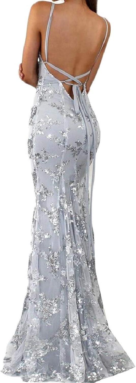 PujinggeCA Women Sequin Dress Sleeveless Backless Maxi Evening Prom Dresses