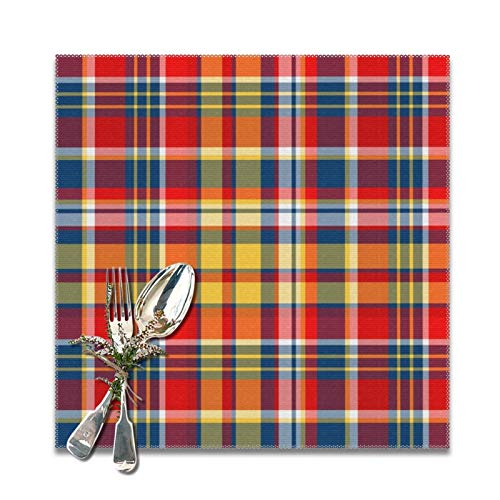 Abigail Anne Summer Plaid Placemats for Dining Table Set of 6,Non-Slip Heat Resistant Kitchen Table Mats for Holiday Wedding Party Home Office Decor 12'x12'