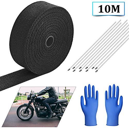 EXLECO Hitzeschutzband 10M Schwarzer Auspuffband mit Kabelbinder für Motorrad Fächerkrümmer Thermoband Krümmerban(+10 Stahlstangen+Blaue Handschuhe)