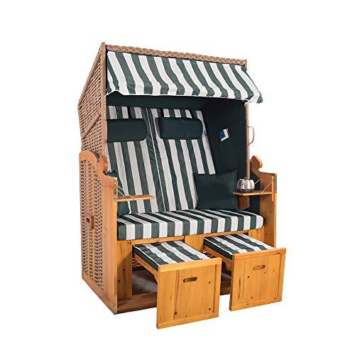 2-Sitzer Strandkorb Hörnum - Volllieger mit Fußablagen – inkl. Nackenkissen und Kuschelkissen Set - (Geflecht - Natur, Grün - Blockstreifen)