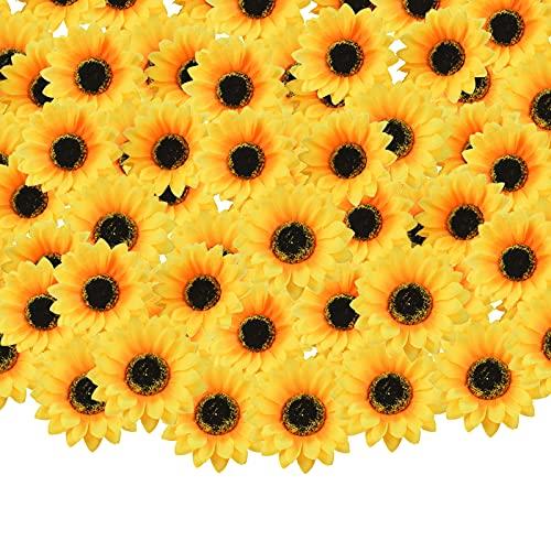 30 cabezas artificiales de girasol amarillas, cabezas de girasol de imitación de seda, cabezas de flores amarillas artificiales, para decoración de bodas y fiestas