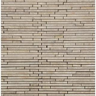 Crema Ivy Mounted Random Sized Bamboo Stone Marble Mesh Honed Mosaic in Beige