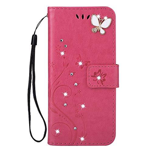 Homikon PU Leder Hülle Retro Schön Schmetterling Blume Schutzhülle für Mädchen Brieftasche Ledertasche Bling Glänzend Glitzer Diamant Handyhülle Etui Kompatibel mit Samsung Galaxy S5 Mini - Rose rot