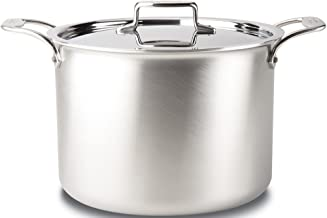 All-Clad BD55512 D5 Brushed 18/10 Stainless Steel 5-Ply Bonded Dishwasher Safe Stock Pot with Lid Cookware, 12-Quart, Silver