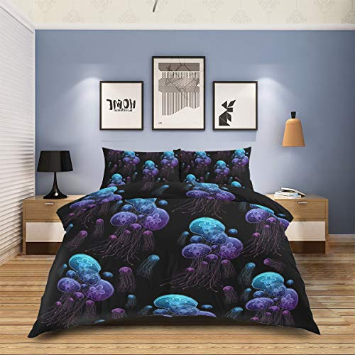 Why Should You Buy Jellyfish Duvet Cover Sets 4Pcs, Wrinkle Free Stain Proof Bedding Set for Master Room, Guest Room, Kids Room, Magic Glowing Jellyfish Ocean Underwater Life Purple Blue