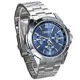 JewelryWe Hombre del Reloj, Display Azul Puntero de Plata, Plata Pulsera de Acero Inoxidable