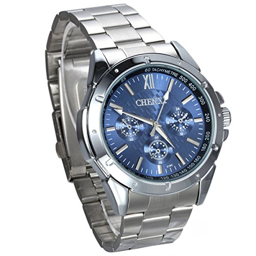 JewelryWe Herren Armbanduhr, Business Casual Analog Quarz Uhr mit Edelstahl Armband, Blau Zifferblatt