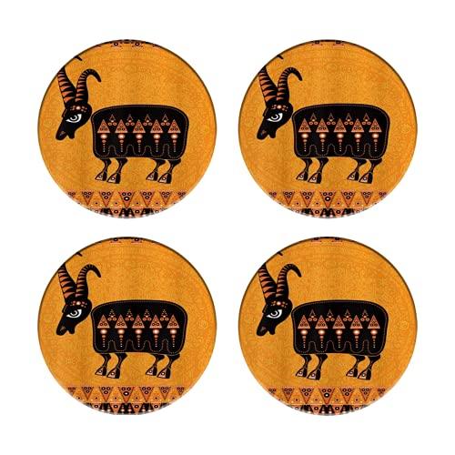 Posavasos de cerámica para Bebidas, Antiguo Arte étnico Animal Misterioso Figura de Cabra Sagrada, Tazas Redondas absorbentes Reutilizables, manteles Individuales para decoración de Barra de Cocina