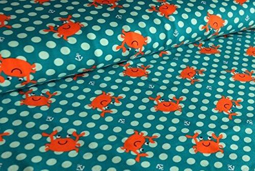 Qualitativ hochwertiger, gemusterter Jersey Stoff mit Krebsen auf Petrol als Meterware zum kreativen Nähen von Kinder- und Baby Kleidung - Öko-Tex Zertifizierung, 50 cm