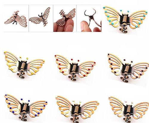 Cuhair 10 pcs vintage en alliage de métal Punk Papillon Frange Mini Barrettes à cheveux Griffe de cheveux Accessoires Cheveux pour femme fille, DIY fait à la main strass Design