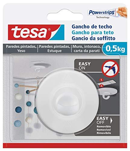 tesa® Deckenhaken für Tapeten und Putz - selbstklebender Haken - ideal zur Montage von dekorativen Elementen - je Haken belastbar bis 0,5 kg - rückstandslos entfernbar