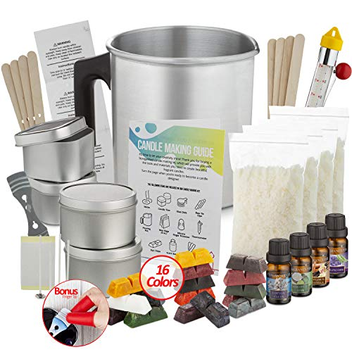Etienne Alair Candle Making Kit - DIY Scented Candles Kit For Soy Candle Making, Set Includes: 2Lb Wax, 16 Color Wax Dye, 4 Fragrance Oils, And 4 Tins