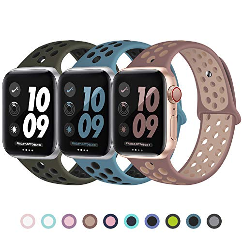 JuQBanke Sport Band 3 Pack Compatible for Apple Watch Band 42mm 44mm, Soft Silicone Sport Replacement Wristband Compatible with iWatch Series 1/2/3/4/5 M/L Olive Black/Celestial/Smokey Mauve
