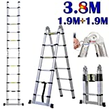 12.5ft 3.8M Extension Ladder Aluminium Multi-Purpose Telescopic Ladders Portable Solid Folding A-Fram Step Ladders for Outdoor & Indoor (1.9m+1.9m))