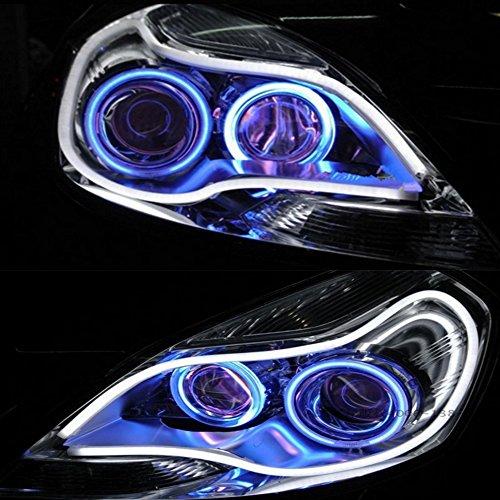 HopeU5 Einfarbige Stück Auto Stil Schlauch 12V DC Weiß-Gelb Switchback Scheinwerfer LED Auto Streifen Licht DRL Tagfahrlicht (85cm Single color)