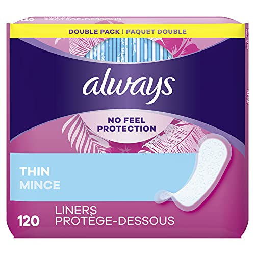 Product Image of the Always Thin Daily Liners, Regular Absorbency, 120 Count, Unscented, Wrapped