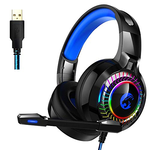 REDTAXON Computer Gaming Headset With 50mm Drivers, Gaming Headset For Xbox For PS4 Nintendo PC Mac Surround Stereo Gaming Headset With Noise Cancelling Microphone & Luminous Gaming Headset 7.1 Channe