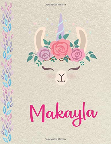 Makayla: Personalized Llama SketchBook for girls, great gifts for kids. Large sketch book with pink Name for drawing, sketching, Doodling or learning to draw (sketch books for kids 8.5x11 110 pages )