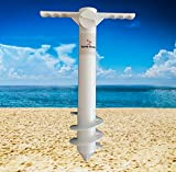 Sandy Dunes Beach Umbrella Sand Anchor | One-Size-Fits-All | Extra Strong, 3-Tier Screw To Withstand Tough Winds