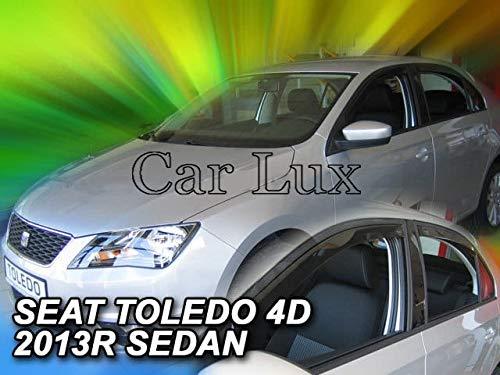 Car Lux AR01651 - Derivabrisas Deflectores de Aire Cortavientos de Ventanillas Kit Delanteros y Traseros para el Toledo Sedan a Partir de 2013-