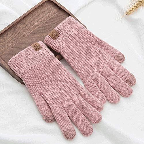 SPRRC Wollhandschuhe Damen Herbst und Winter Stricken beiläufige Art und Weise warm kalt Plus Samtverdickung Students Outdoor Laufen Reiten Fahren Handschuhe (Color : Rosa)