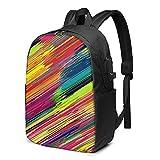 Mochila de rayas de pintura de acuarela, mochila de viaje con puerto de carga USB para hombres y mujeres de 17 pulgadas - negro - talla única