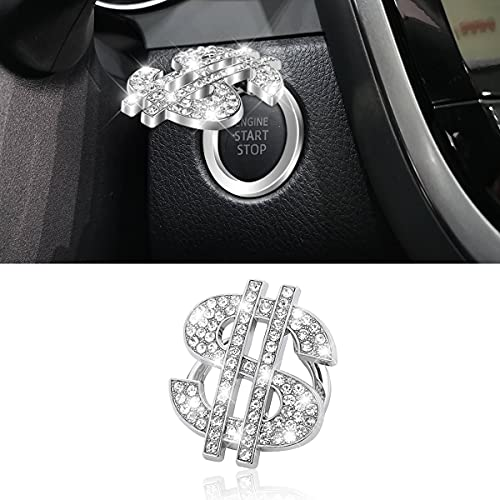 Car Engine Start Stop Button Cover, Bling Crystal Rhinestone Dollar Symbol Push...
