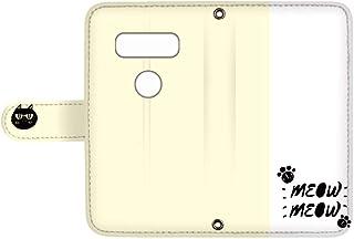 スマQ V20 PRO L-01J 国内生産 カード スマホケース 手帳型 LG エルジー ブイトゥエンティ プロ 【C.イエロー】 ネコ ワンポイント バイカラー ami_vd-0153