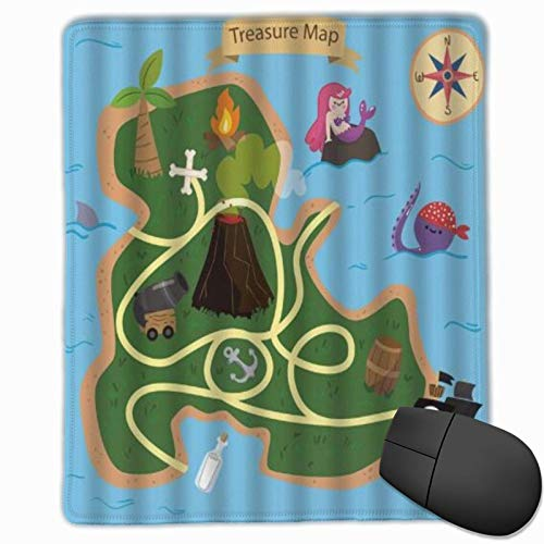 ELIENONO Alfombrilla Raton Mapa del Tesoro Isla Sirena Pulpo Barco Pirata Drift Bottle Anchor Palm Brújula Alfombrilla Gaming Alfombrilla para computadora con Base de Goma Antideslizante,250×300×3mm