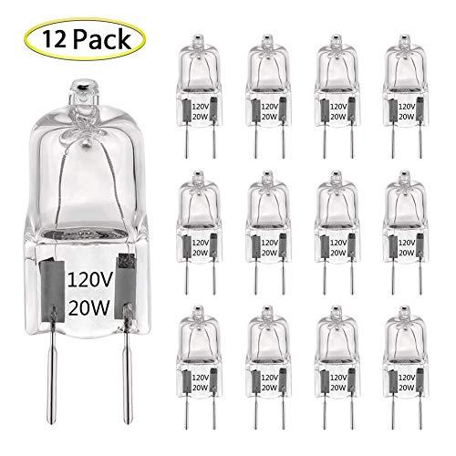 G8 Halogen Light Bulb 20W 120V T4 JCD G8 Bi-Pin Base (12 Pack) Dimmable G8 Light Bulbs for Under Cabinet Puck Lights, Kitchen Hood, Microwave Oven Light, Landscape Light, Warm White 2700K-3000K
