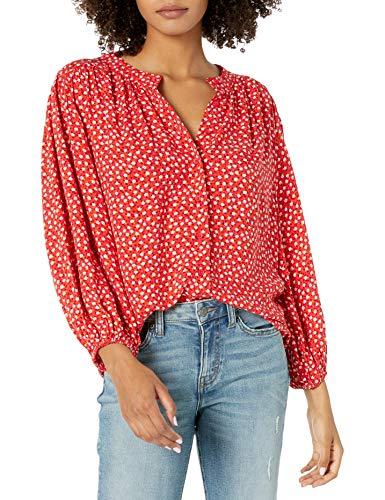 Goodthreads Fluid Twill Volume-Sleeve Poet Shirt Button-Down-Shirts, Rojo Mini Daisy Print, M