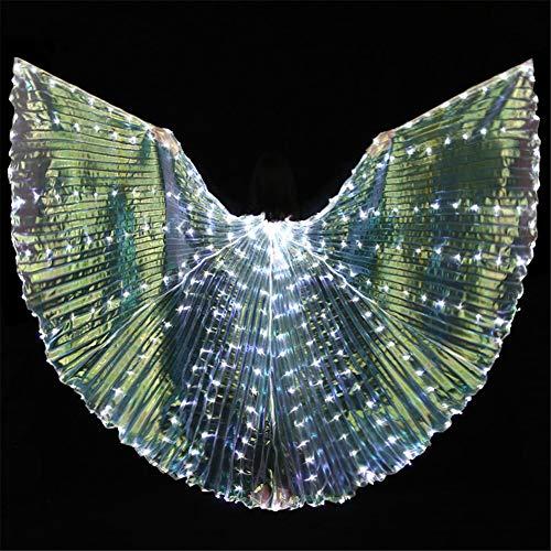 LED Ligero Alas Mariposa ala Danza del Vientre Disfraz con Telescpico Palo para Halloween Navidad Fiesta Etapa Actuacin Accesorios