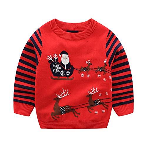 Toctax Maglione Natalizio per Bambini Babbo Natale con Felpa Jacquard Fulvo Ragazzo Ragazza Felpa in Cotone a Righe Addensato