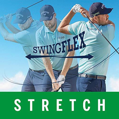 IZOD Men's Performance Golf Grid Short Sleeve Stretch Polo Shirt, Riviera Blue/Grey Logo, X-Large