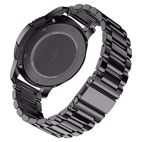 WNFYES 18 Mm 22 Mm 20 Mm 24 Mm Banda Correa Galaxy Reloj For 42 46mm Engranaje S3 Activo 2 Banda De Acero Inoxidable Relojes Correas (Color : Black, Size : Galaxy Watch 42mm)