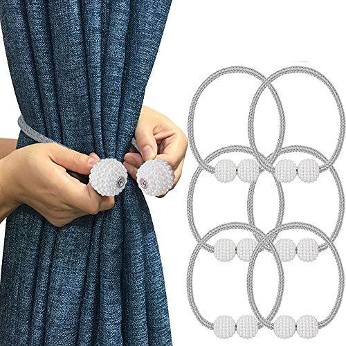 Melaluxe 6 Pack Magnetic Curtain Tiebacks, Decorative Curtain Holdbacks for Window Décor (Grey)