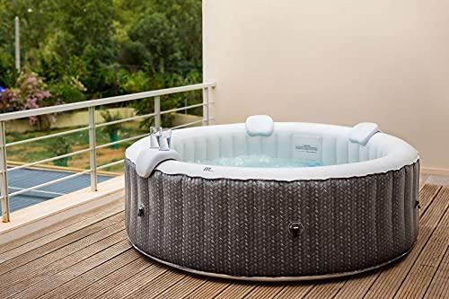 MSpa C-OM061 Ottoman (2021 Model) 6 Person 4+2 Portable Round Hot Tub Bubble Spa Inflatable Rattan Furniture Pattern Grey