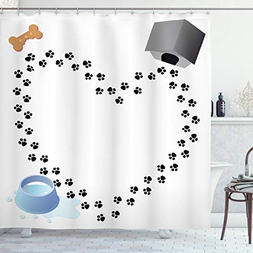 """Ambesonne Dog Lover Shower Curtain, Puppy Love Heart Shaped Trail of Paw Prints Bone Kennel Water Drops, Cloth Fabric Bathroom Decor Set with Hooks, 70"""" Long, Blue Black"""