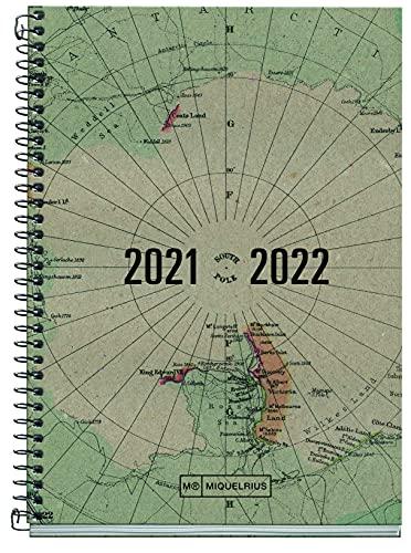 MIQUELRIUS - Agenda Escolar 2021-2022 - Tamaño ACTIVA 11,7 x 17,4 cm, Semana Vista, Recycled Map, Idioma Español