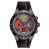Ferrari 0830341 RedRev Evo - Reloj analógico de pulsera para hombre (cuarzo, correa de silicona)