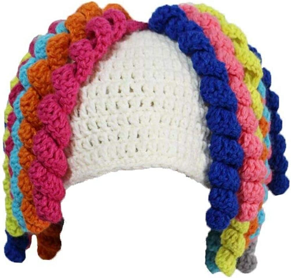 SUNONE11 Women Curly Wig Hats Handmade Warm Winter Caps Knitted Beanie Jamaican Halloween Party Costume